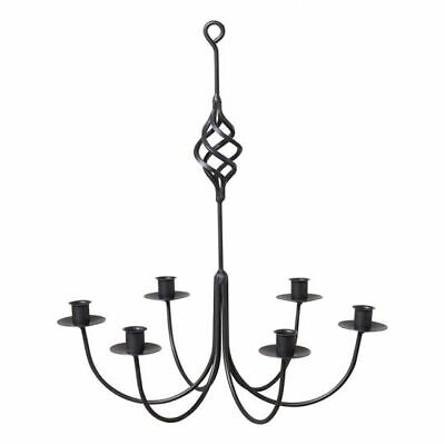 Black Wrought Iron New Hanging 6 Arm Candle Chandelier • 36.82£