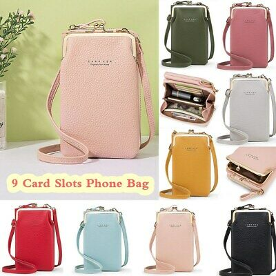 AU22.70 • Buy Women Fashion Shoulder Bag 9 Card Slots PU Leather Phone Bag Solid Crossbody Bag