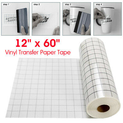 12 X 60 Inch Vinyl Transfer Paper Tape Roll Cricut Adhesive Clear Alignment Grid • 7.75£