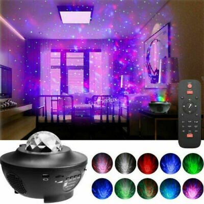 Galaxy Star Moon Cloud Projector Music Night Light Starry Ocean Wave Lamp Remote • 20.99£