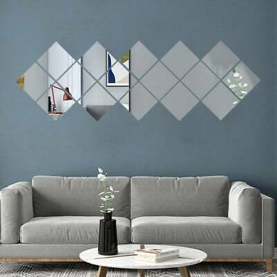 Mirror Tiles Wall Sticker Square Self Adhesive Stick On Art Home Decor 16X • 5.38£