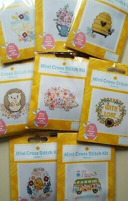 Mini Cross Stitch Card Topper Kits. Choose: Flowers, Hedgehogs, Easter, Love Etc • 2.95£