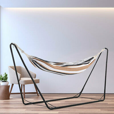 Cotton Double Person Hammocks Garden Camping Canvas Hammock Hang Bed With Stand  • 31.14£
