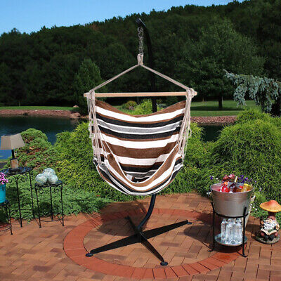 Swing Hammock Chair Garden Hanging Seater Outdoor Indoor Hammocks With Stand UK • 167.94£