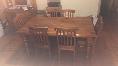 AU150 • Buy Timber Dining Table And 6 Chairs