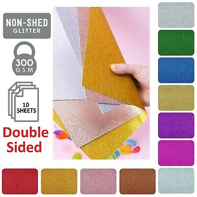 £4.95 • Buy A4 300gsm Double Sided Non Shed Glitter Cardstock Coloured Premium Quality Craft