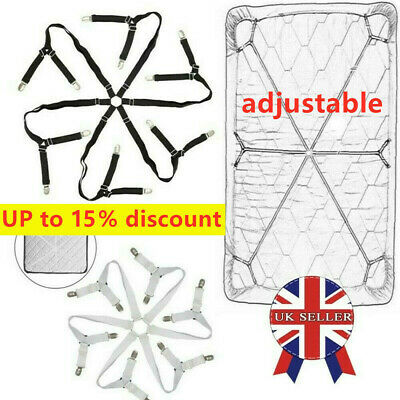 £7.29 • Buy Bed Grippers Sheet Mattress Clips Holders Fasteners Strap Suspender Fitted UK