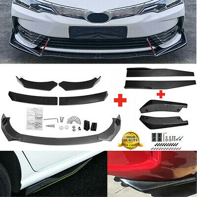 $69.99 • Buy Universal Carbon Fiber Look Side Skirt + Rear Lip +Front Bumper Spoiler Body Kit