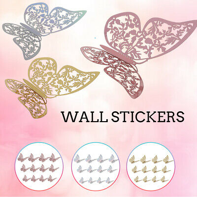 AU11.99 • Buy 24Pcs 3D DIY Wall Decal Stickers Butterfly Home Room Art Decor Decorations Gold