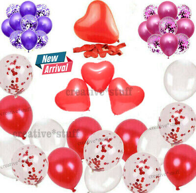 100 RED & WHITE HEART SHAPE LOVE BALLOONS Wedding Party Valentines Father Day • 2.29£