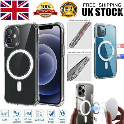 For IPhone X/11/12 Series Clear Case Magnetic Mag Safe Shockproof Cover • 14.39£
