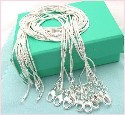 10 In Pack 925 Solid Sterling Silver Snake Chain Necklace 1mm  Size 16  Uk Stock • 5.29£