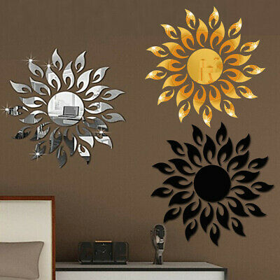 3D Mirror Sun Decals Art Wall Stickers Self-adhesive Acrylic House Bedroom Decor • 6.19£