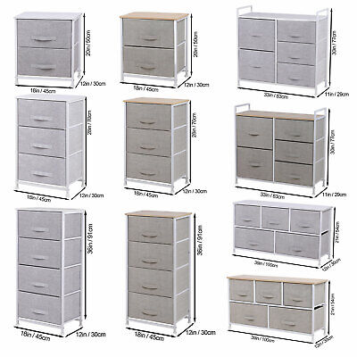 £42.09 • Buy Fabric Cabinet Storage Unit Chest Of Drawers Metal Frame Organiser Bedside Table