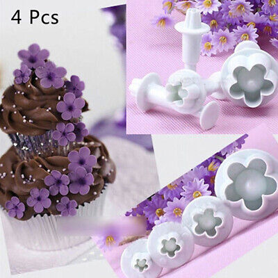 4Pcs Plum Flower Fondant Cake Cutter Plunger Cookie Mold Decorating Candy Mo Kw • 2.95£