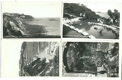 ISLE OF WIGHT - VENTNOR Four Real Photo Postcards CLIFF PATH, CASCADE, PIER Etc • 3.50£