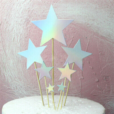 £0.99 • Buy 7 X Star Cupcake Toppers Party Decoration Cup Cake Topper Birthday - SILVER