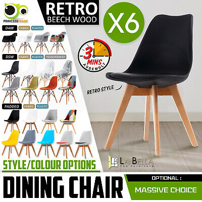 AU234 • Buy 6 X Retro Replica PU Padded DSW Beech Dining Chairs Cafe Kitchen