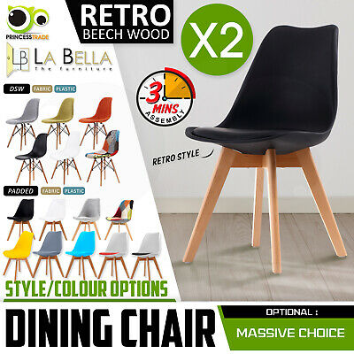 AU109 • Buy 2 X Retro Replica PU Padded DSW Beech Dining Chairs Cafe Kitchen