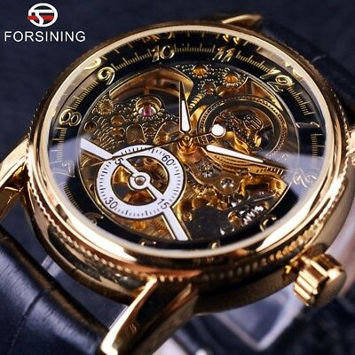 AU35.59 • Buy Army Leather Mens Forsining Luxury Automatic Skeleton Steampunk Wrist Watch Gift