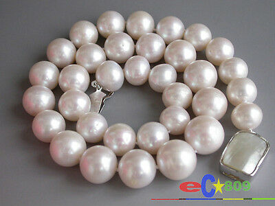 $200 • Buy P2844 HUGE REAL 17  15mm ROUND WHITE PEARL NECKLACE 925SILVER MABE