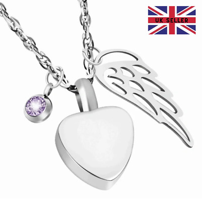 CREMATION JEWELLERY Birthstone Heart Angel Wing Necklace Cremation Jewellery  • 2.99£