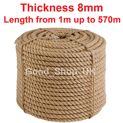 8 Mm Thick Heavy Duty Jute Rope High Quality Twisted Braided Garden Decking Cord • 1.49£