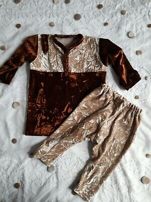 New Baby Girl Boy Soft Brown Beige Crush Velvet Party Winter Shirt Trousers Suit • 13.99£