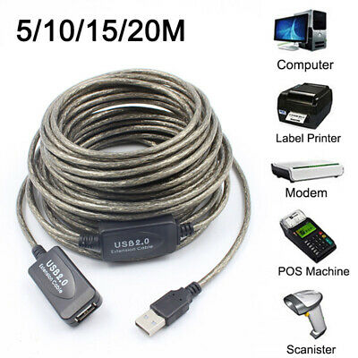 AU16.56 • Buy USB 2.0 Extender Lead Black Extension Cable Type A Repeater Extension 10&15 &20M