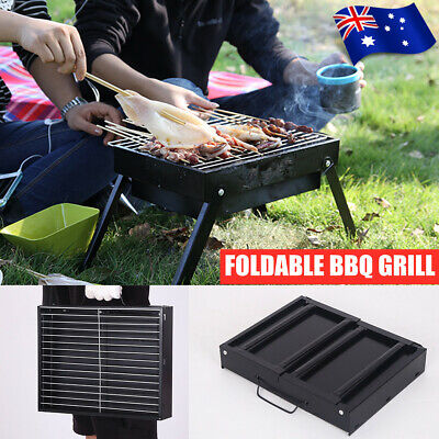 AU16.80 • Buy Portable Foldable BBQ Grill Outdoor Hibachi Charcoal Barbecue Roaster Picnic ┟