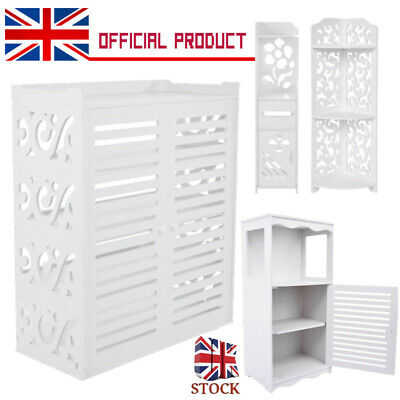 PVC Shoes Cabinet Bathroom Toilet Roll Paper Holder Storage Floor Standing White • 12.99£