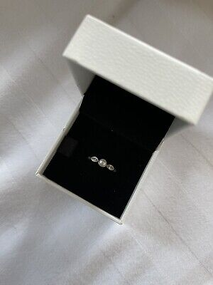 Pandora Ring Pearl And Cubic Zirconia Sterling Silver Size 52 • 27£