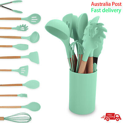 AU23.99 • Buy BPA Free Set Of 12 Silicone Utensils Set Wooden Cooking Kitchen Baking Cookware