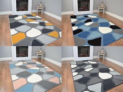 Modern Pebble Stone Design Rug Large Small Living Room Mat Grey Lounge Area UK • 29.95£