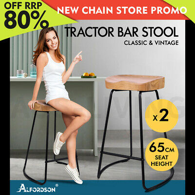 AU119.85 • Buy ALFORDSON 2x Bar Stools 65cm Tractor Kitchen Wooden Vintage Chair Natural
