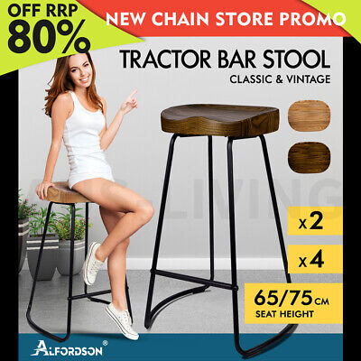 AU219.85 • Buy ALFORDSON Tractor Bar Stools Kitchen Wooden 65cm/75cm Vintage Stool Chairs