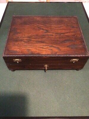 Antique Beaded Edge Oak Cutlery Box With Drawer And Fitted Interior • 45£