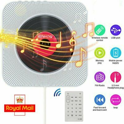 Remote Control Wall Mounted CD Player FM Radio Bluetooth MP3 Music Player Home • 36.89£