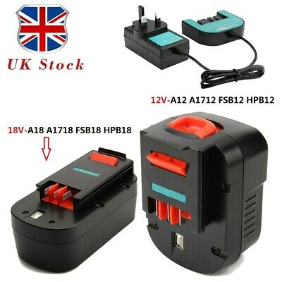 £22.90 • Buy Battery+Charger For Black&Decker (12V)A12 A1712 FSB12(18V) A1718 HPB18 HPB18-OPE