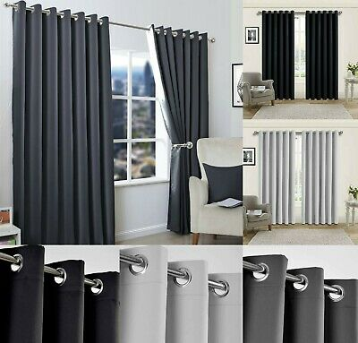 Insulated Heavy Thick Thermal Blackout Curtains Eyelet Ready Made Ring Top Pair • 19.79£