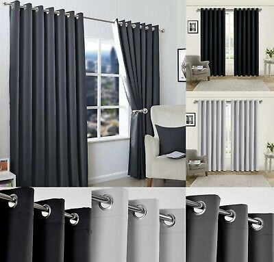 Insulated Heavy Thick Thermal Pair Of Grey Curtains Eyelet Ready Made Ring Top • 19.79£