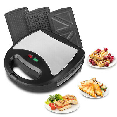Sandwich Toaster Panini Press Fill 3-in-1 Snack Maker With Interchangeable Plate • 29.99£