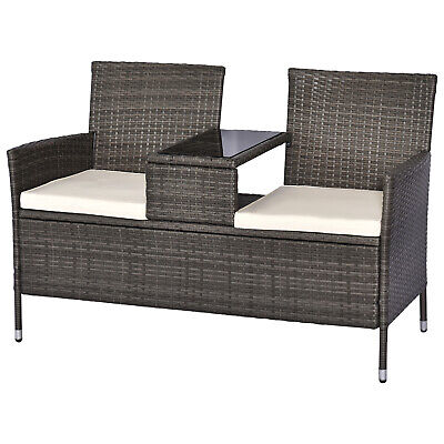 £131.99 • Buy Outsunny Companion Seat Table Chair Conservatory Rattan Loveseat Garden Bench
