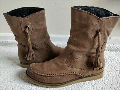 CLARKS BROWN Light Tan Textured LEATHER Flat MID/ ANKLE BOOTS Size 4 37 Good Con • 11.50£