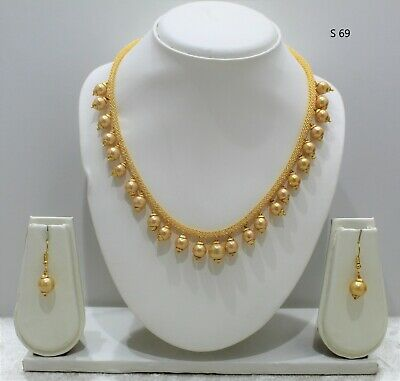 Indian Bollywood  Gold Necklace Mala Chain Necklace Jewellery Set With Earrings • 5.99£