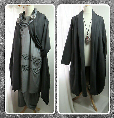 Bnwt, Quirky, Lagenlook, Charcoal Grey, Open-front, Balloon Jacket, Osfa Plus • 28.99£