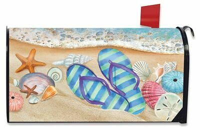 $16.99 • Buy Day In The Sun Summer Magnetic Mailbox Cover Flip Flops Nautical