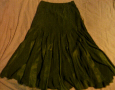 Unwanted Gift PER UNA Full Length Green Faux Suede And Net Panelled Skirt S 12T • 16.99£