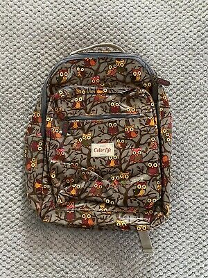 New Without Tag Original Color Life London Brown Owl Oil Cloth Ladies Backpack • 14.99£