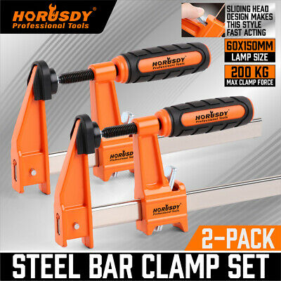 AU21.99 • Buy 2Pc F-Clamps 60x150mm Heavy Duty Steel Bar Quick Release Grip Handle Woodworking